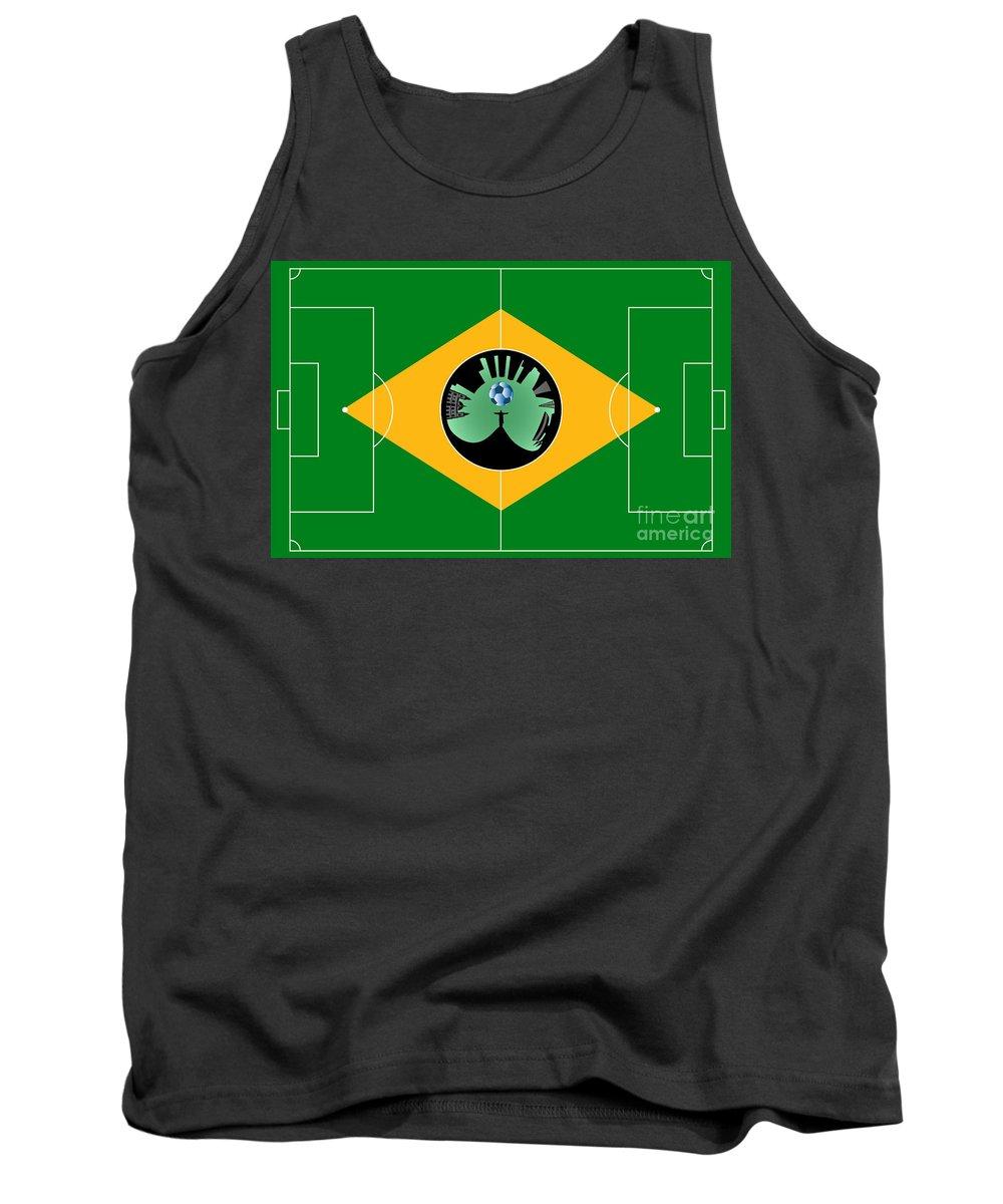 2014 Tank Top featuring the digital art Brazilian Football Field by Michal Boubin