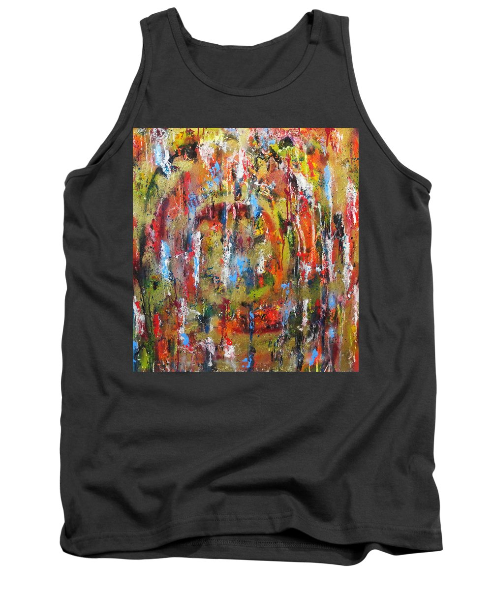 Abstract Tank Top featuring the painting Break Through Barriers by Yael VanGruber