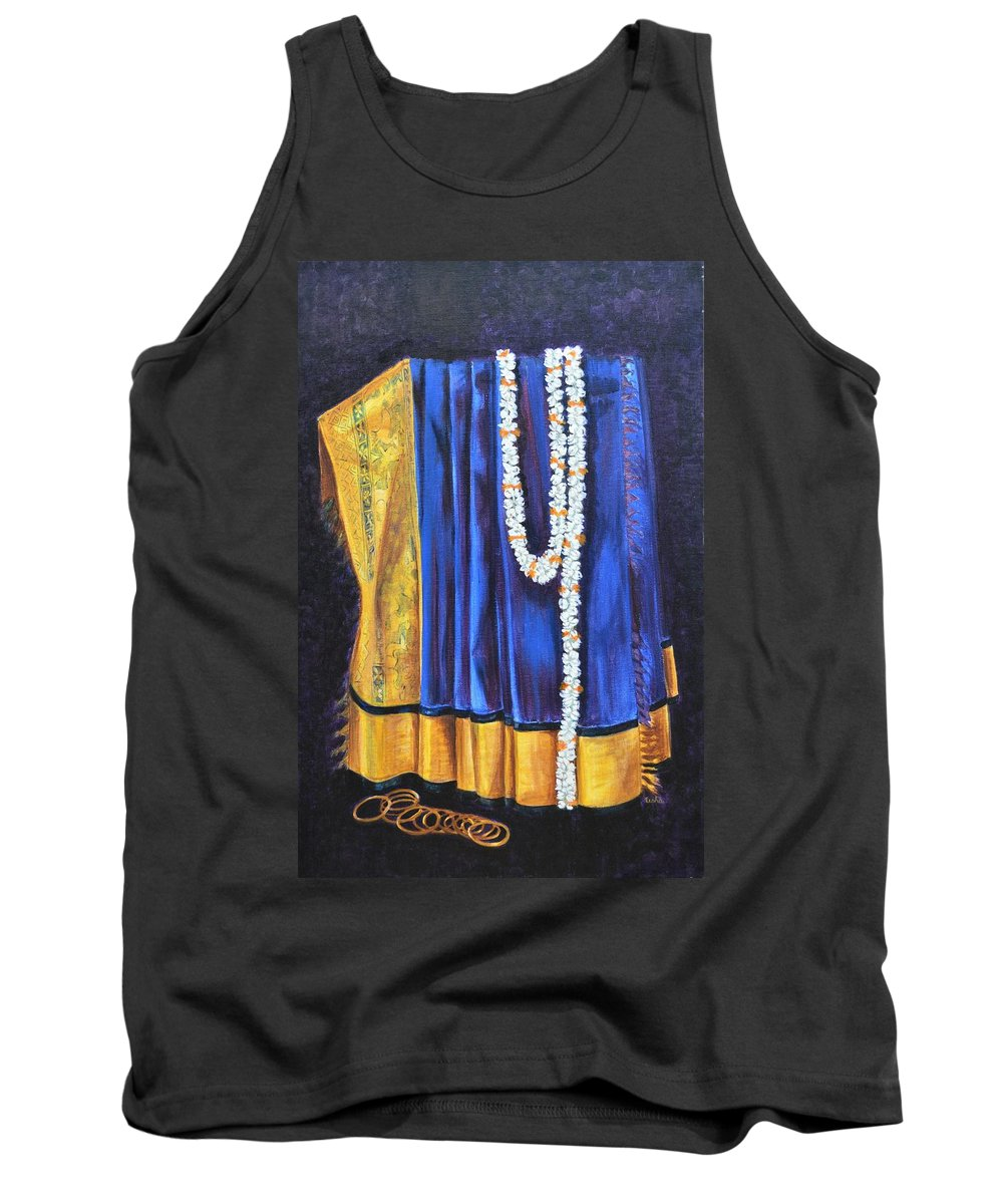 Bridal Tank Top featuring the painting Bridal Wear by Usha Shantharam