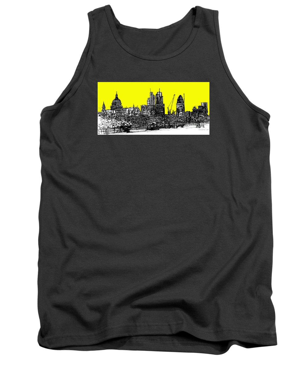 London Tank Top featuring the drawing Dark Ink With Bright Yellow London Skies by Adendorff Design