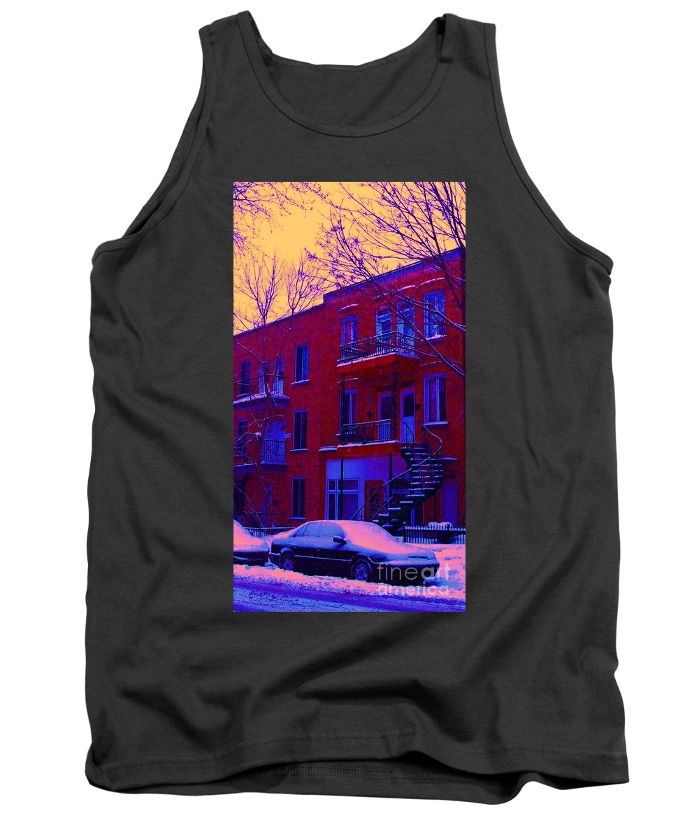 Montreal Tank Top featuring the photograph Brownstones In Winter 6 by Carole Spandau