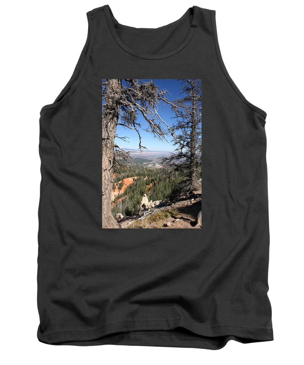 Trees Tank Top featuring the photograph Bryce Canyon Overlook With Dead Trees by Christiane Schulze Art And Photography