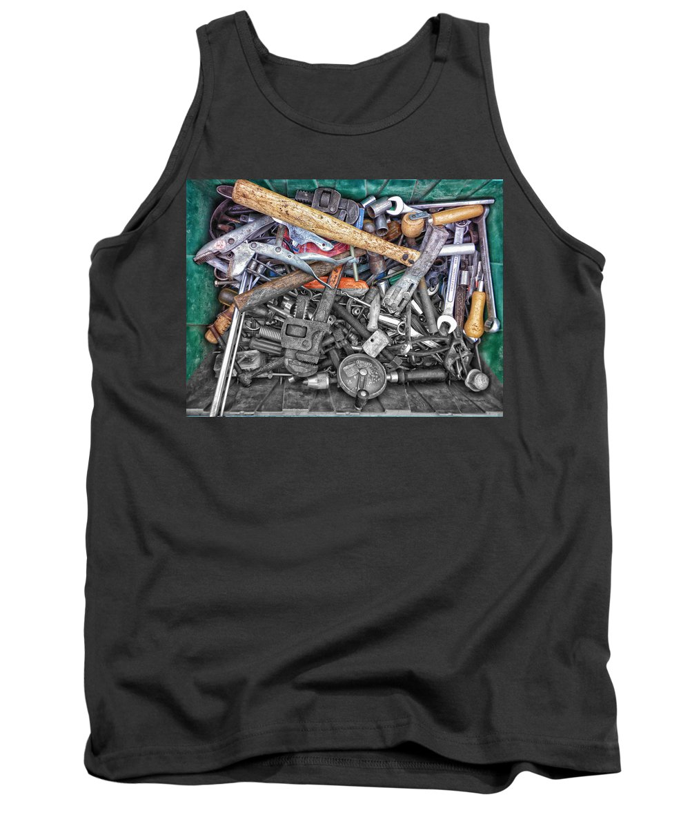 Tool Tank Top featuring the photograph Bucket Of Tools Sc by Thomas Woolworth