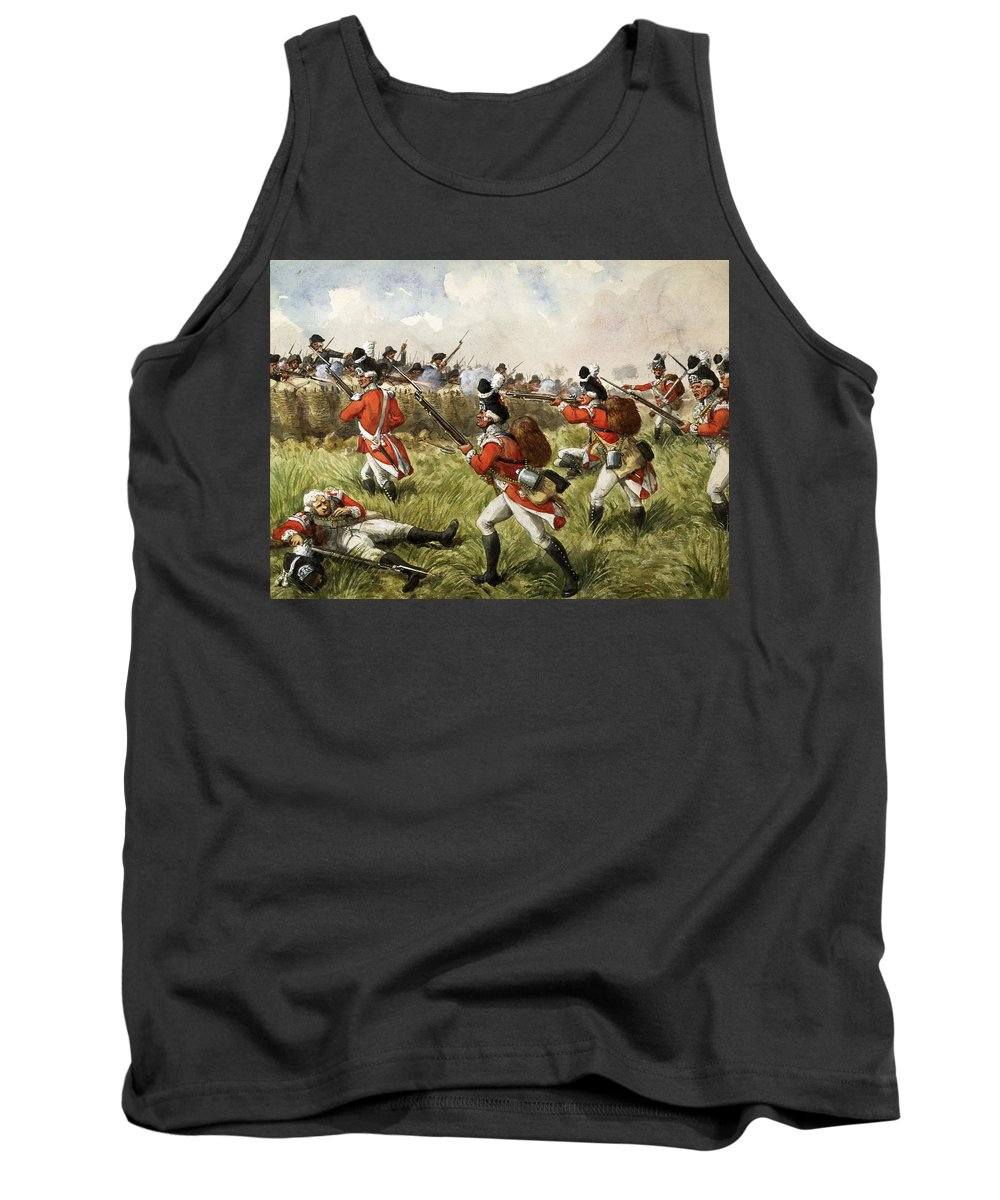 Shooting Tank Top featuring the painting Bunkers Hill, 1775 by Richard Simkin