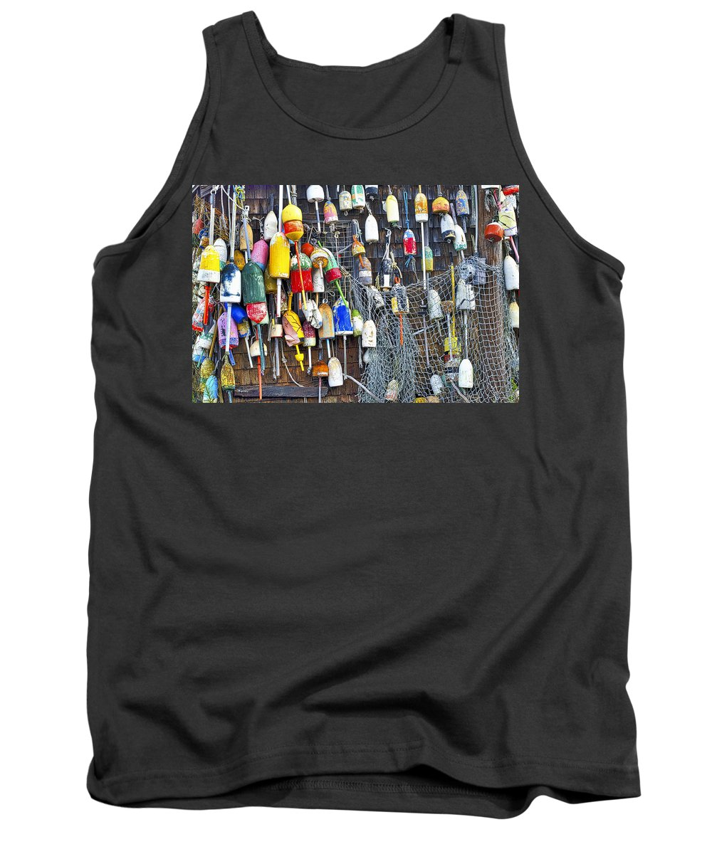 Buoy Tank Top featuring the photograph Buoys On Wall - Cape Neddick - Maine by Steven Ralser
