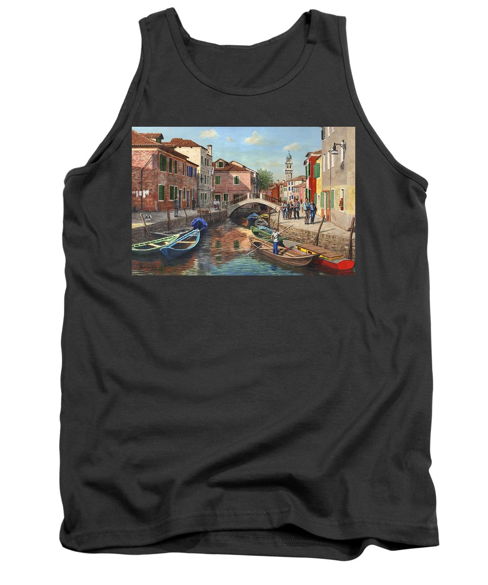 Landscape Tank Top featuring the painting Burano Canal Venice by Richard Harpum