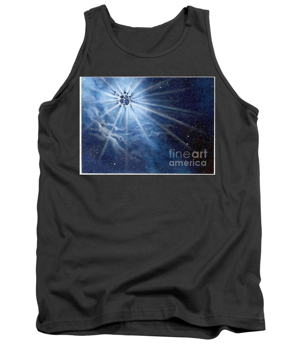 Outerspace Tank Top featuring the painting Burst Of Light by Murphy Elliott