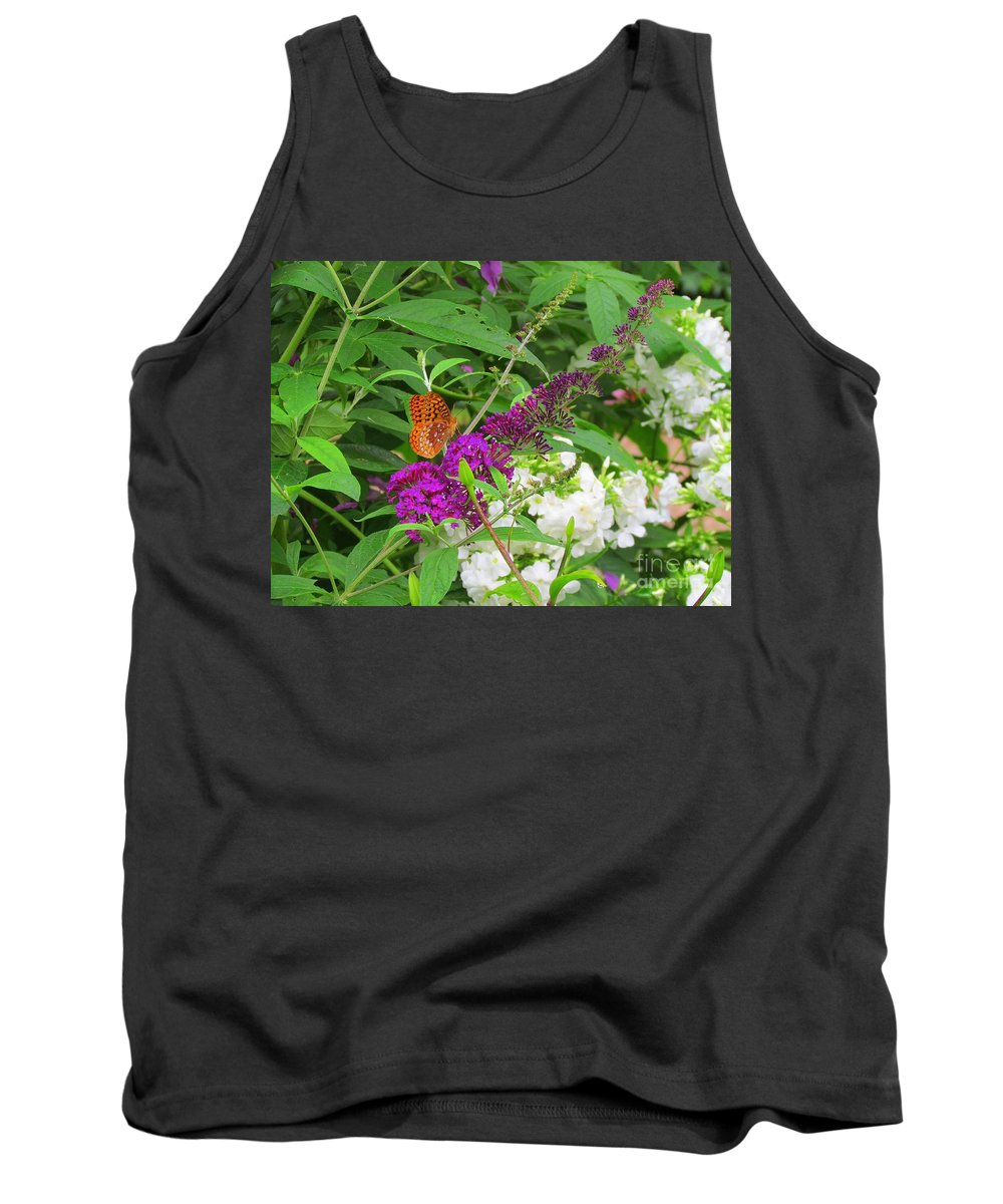 Flowers Tank Top featuring the photograph Butterfly Surprise by Elizabeth Dow