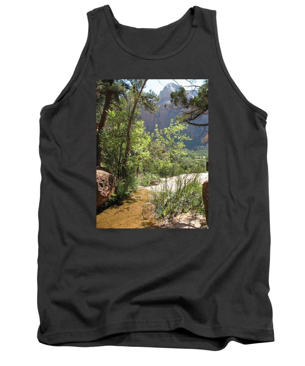 Mountians Tank Top featuring the photograph By The Emerald Pools - Zion Np by Christiane Schulze Art And Photography