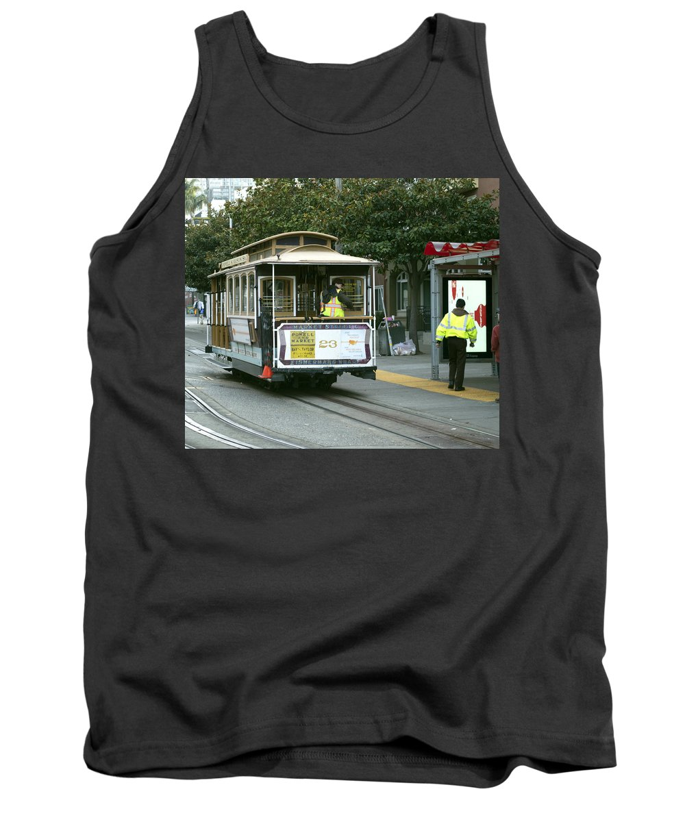 Photograph Tank Top featuring the photograph Cable Car At Fisherman's Wharf by Christopher Winkler