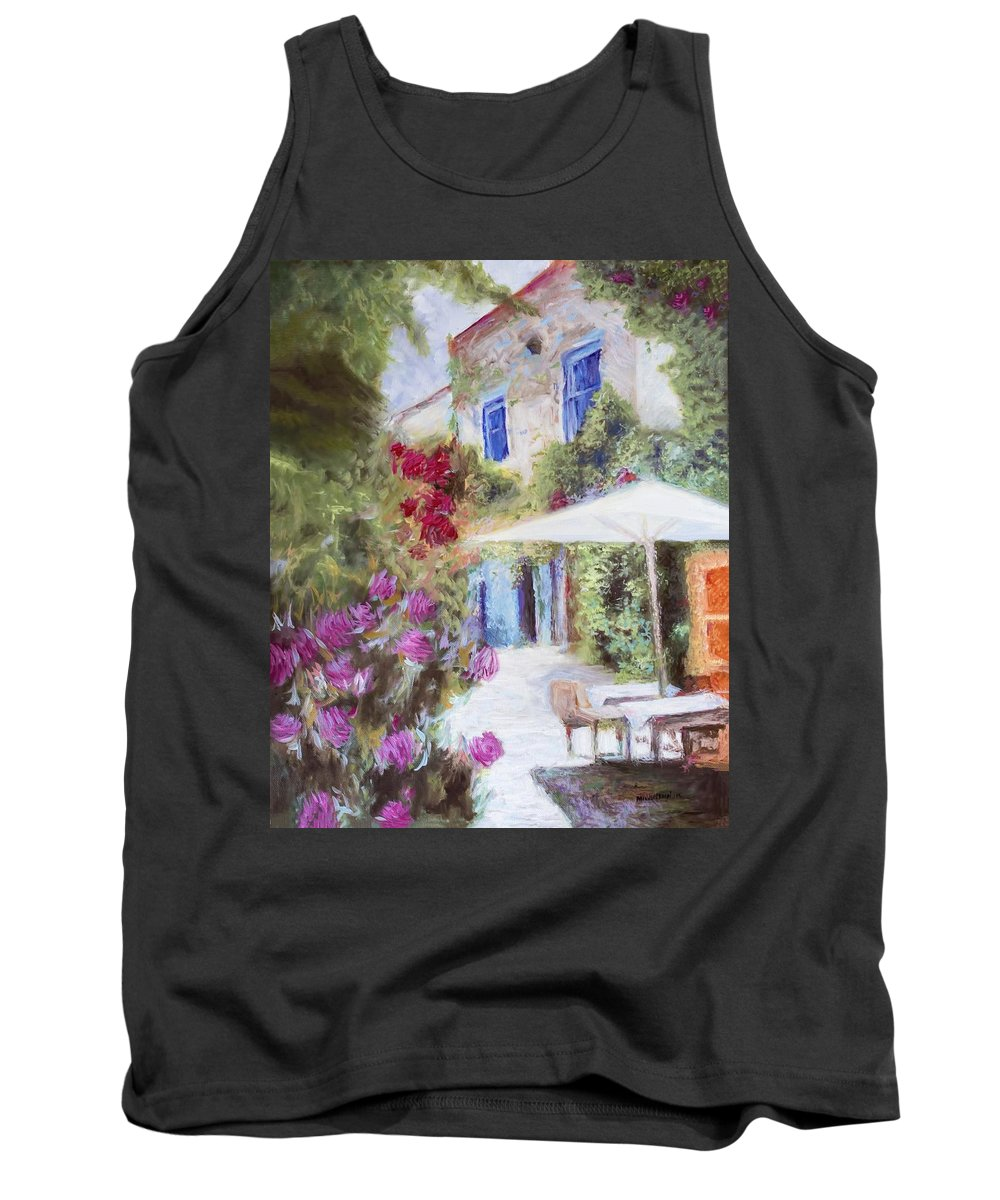 Cafe Tank Top featuring the painting Cafe In The Spring by Melissa Herrin