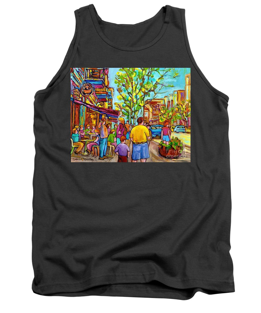 Montreal Streetscene Tank Top featuring the painting Cafes In Springtime by Carole Spandau