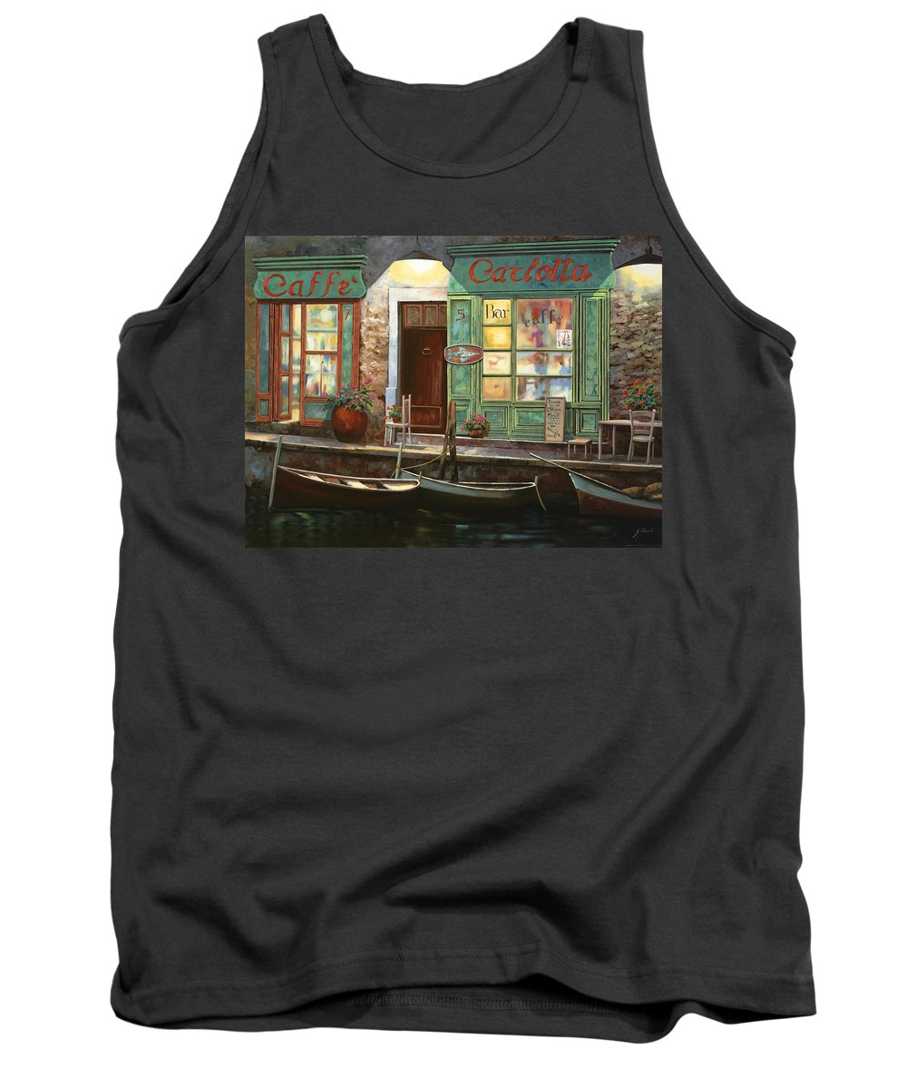 Venice Tank Top featuring the painting caffe Carlotta by Guido Borelli