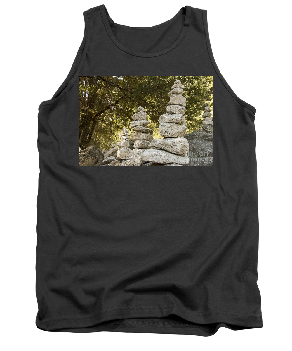 Yosemite National Park California Parks Stone Stones Cairn Cairns Rock Rocks Landscape Landscapes Odds And Ends Tree Trees Tank Top featuring the photograph Cairn Friends by Bob Phillips