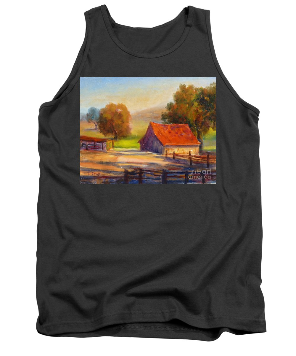 California Barn Tank Top featuring the painting California Barn by Carolyn Jarvis