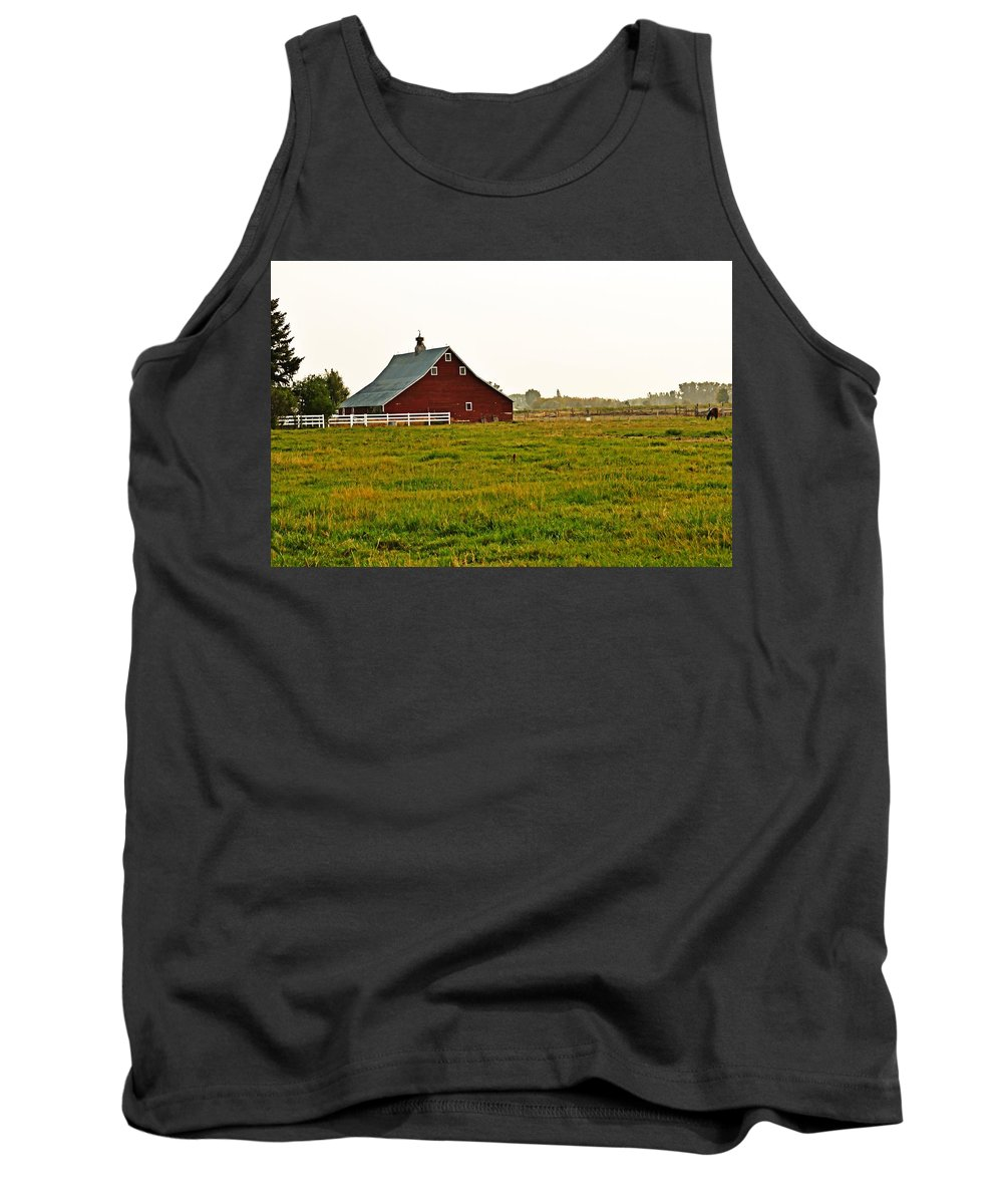 Barn Tank Top featuring the photograph Calm Of The Morning by Image Takers Photography LLC - Laura Morgan