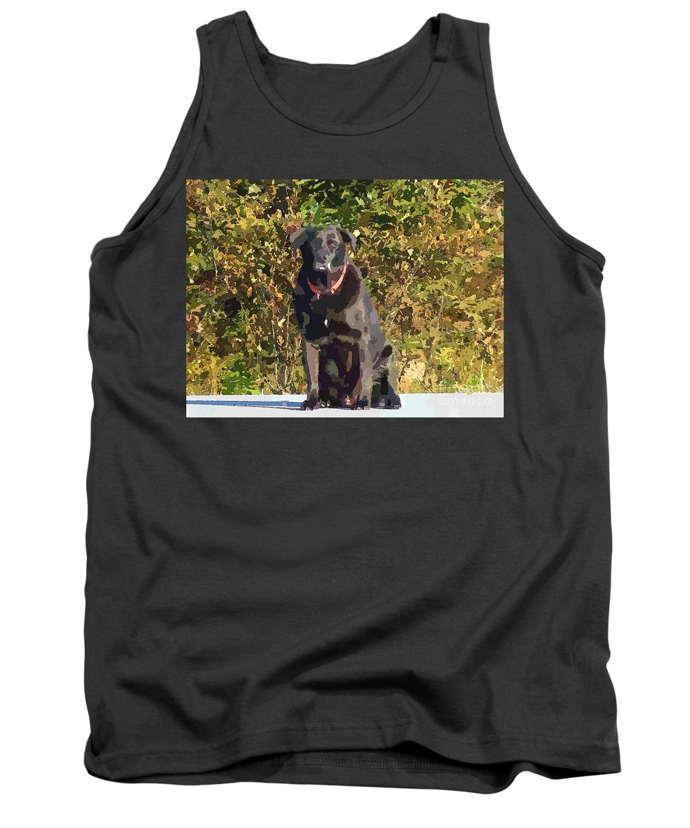 Camouflage Labrador Tank Top featuring the painting Camouflage Labrador - Black Dog - Retriever by Barbara Griffin