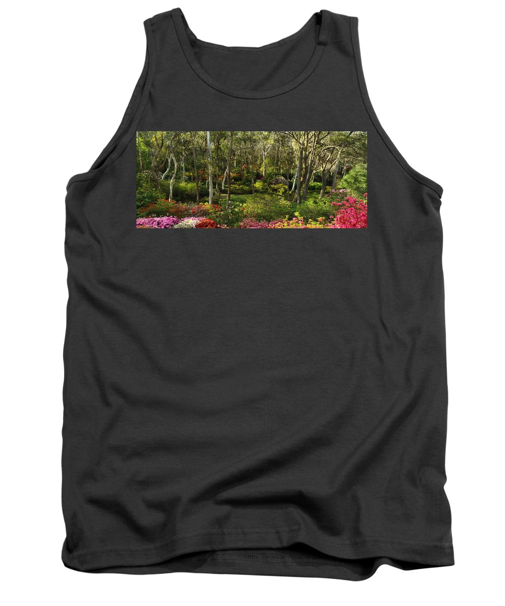 Azaleas Tank Top featuring the photograph Campbell Rhododendron Gardens 2am 6831-6832 Panorama by Andrew McInnes