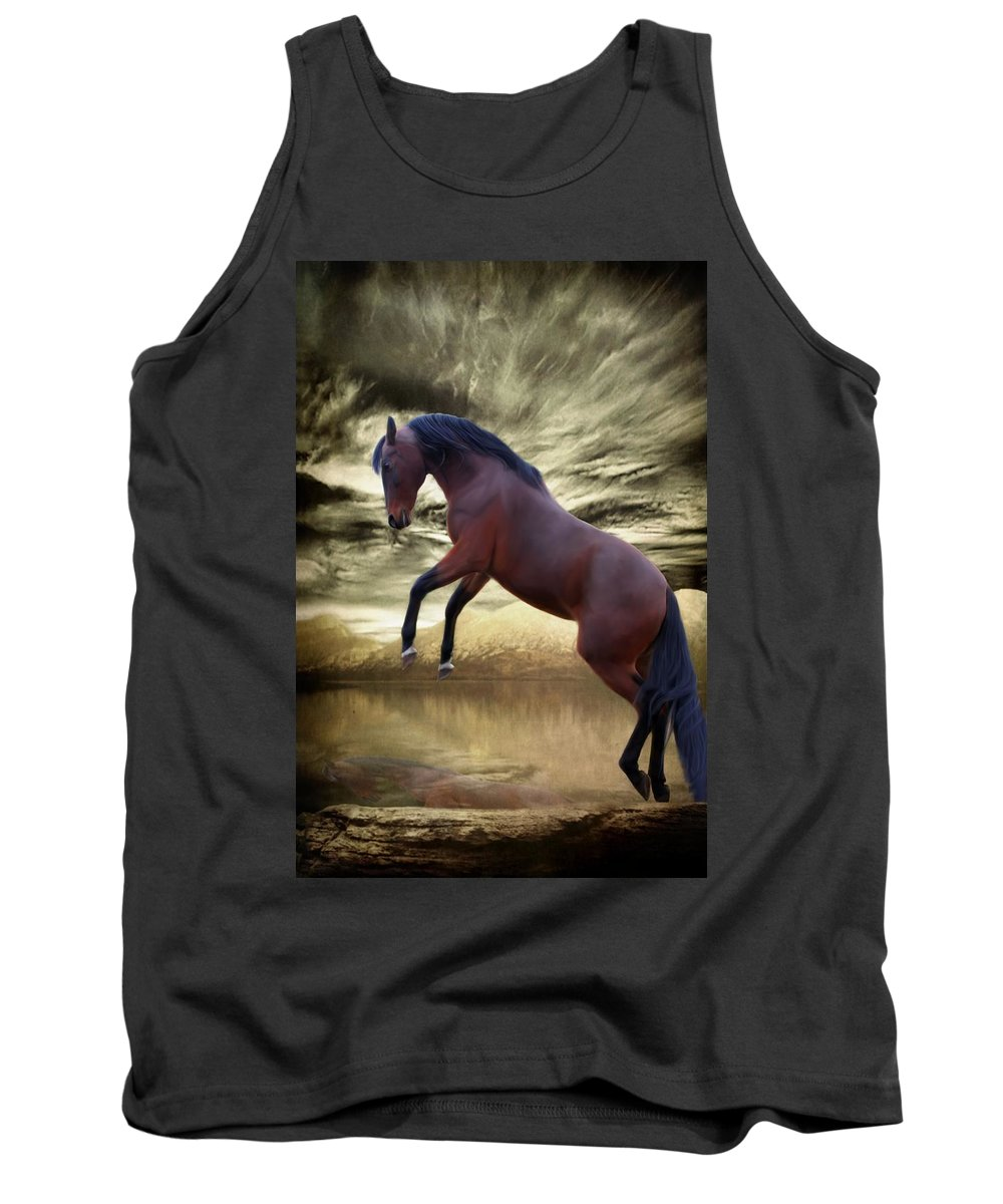 Animal Tank Top featuring the mixed media Can You See My Reflection by Davandra Cribbie