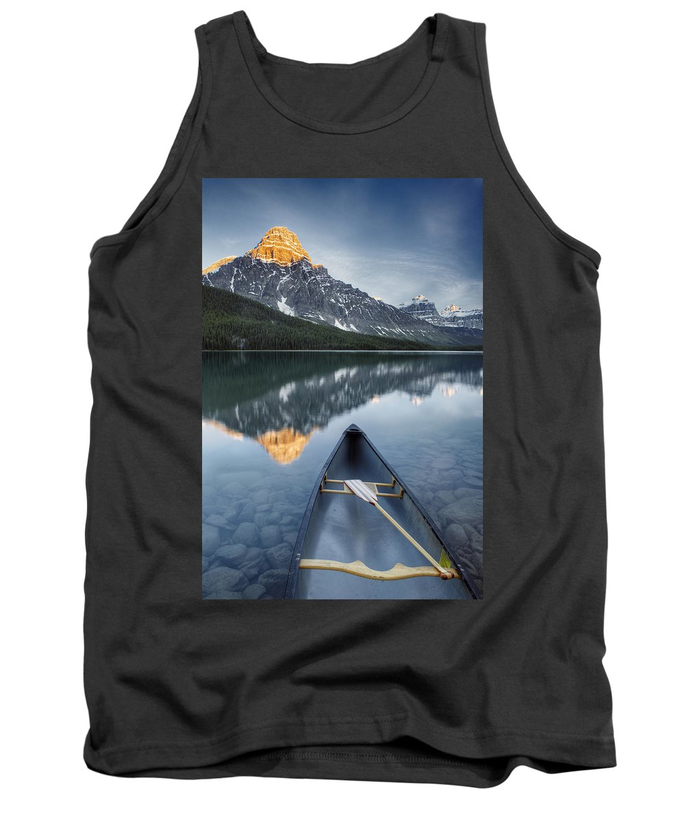 Tank Top featuring the photograph Canoe At Lower Waterfowl Lake With by First Light