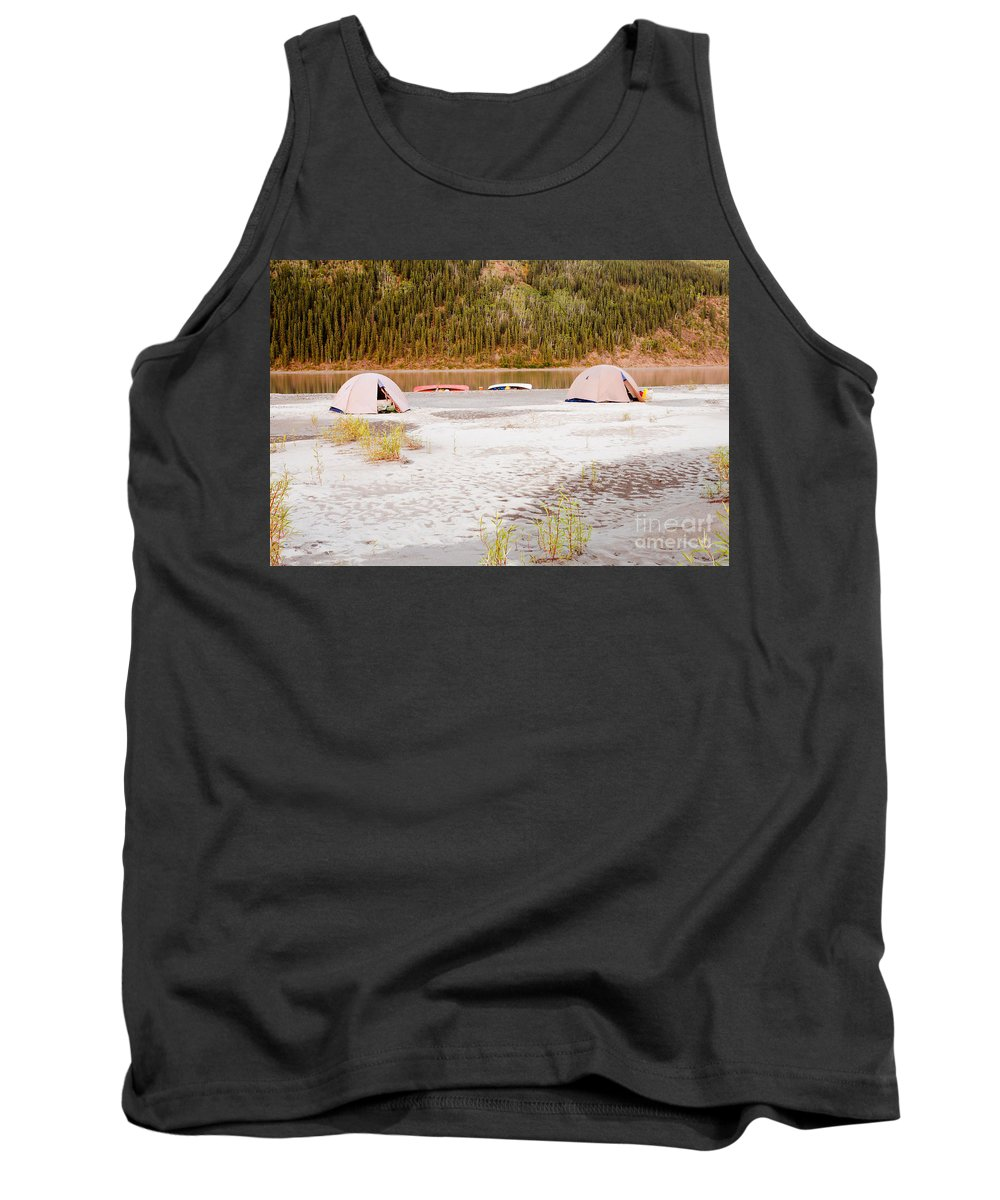 Activity Tank Top featuring the photograph Canoe Tent Camp At Yukon River In Taiga Wilderness by Stephan Pietzko