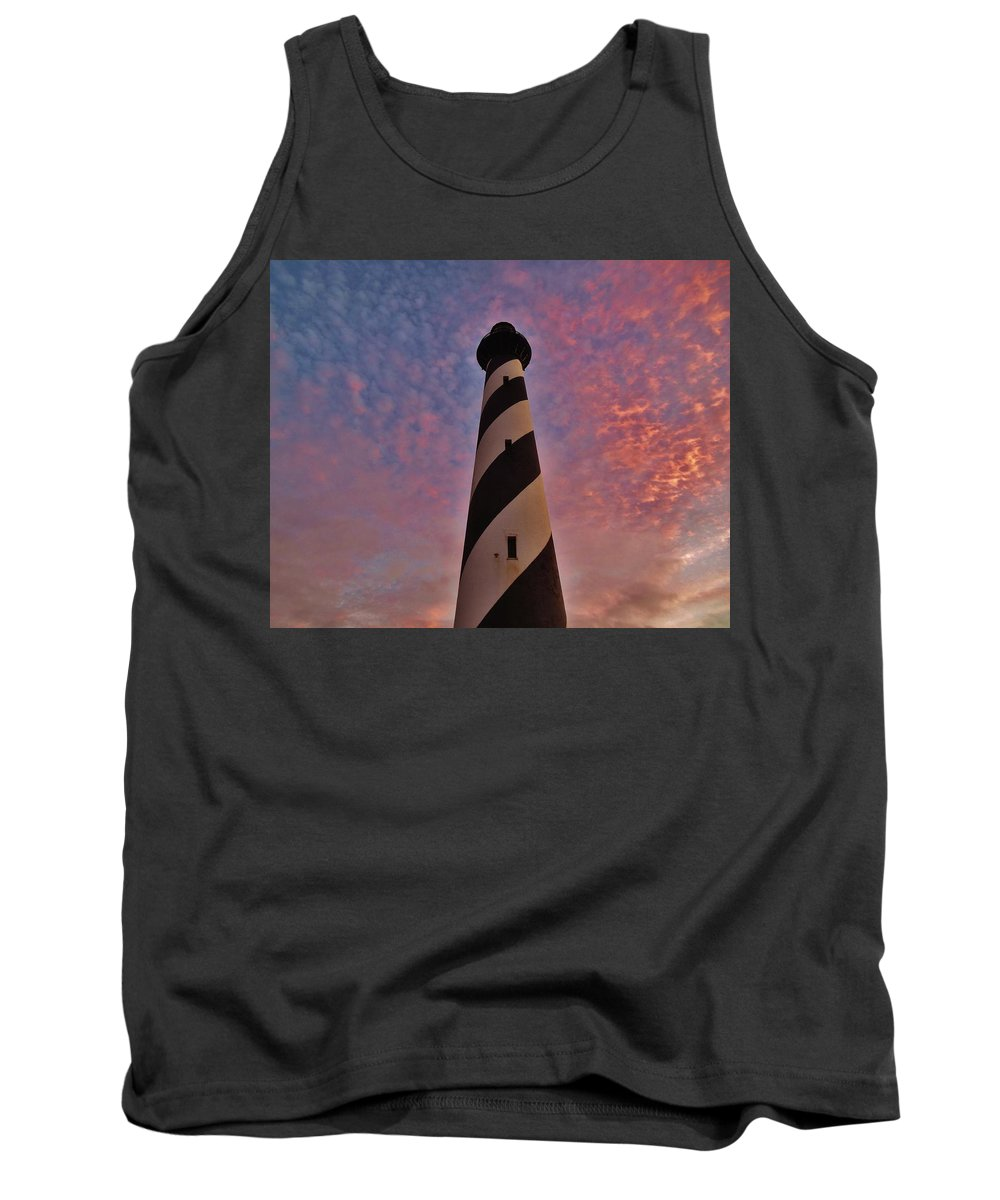 Mark Lemmon Cape Hatteras Nc The Outer Banks Photographer Subjects From Sunrise Tank Top featuring the photograph Cape Hatteras Lighthouse 5 11/05 by Mark Lemmon