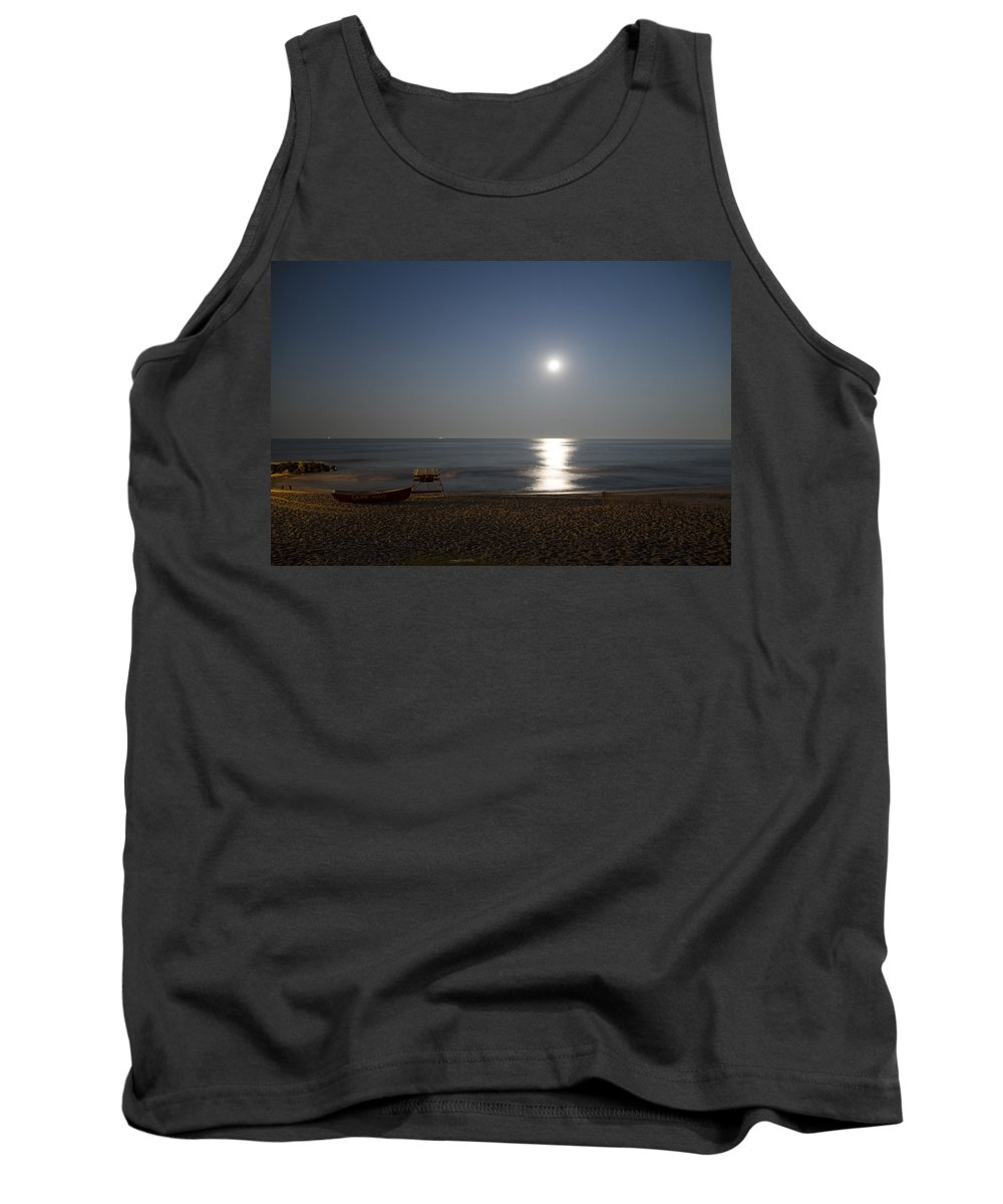 Cape Tank Top featuring the photograph Cape May Beach In The Moonlight by Bill Cannon