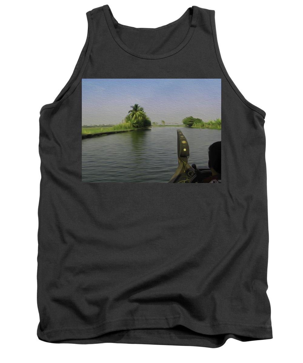 Backwater Tank Top featuring the digital art Captain Of The Houseboat Surveying Canal by Ashish Agarwal