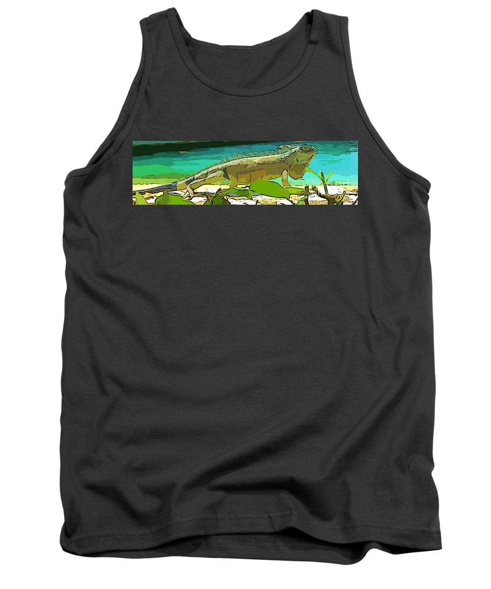 Lizards Tank Top featuring the digital art Cartoon Lizard by John Malone