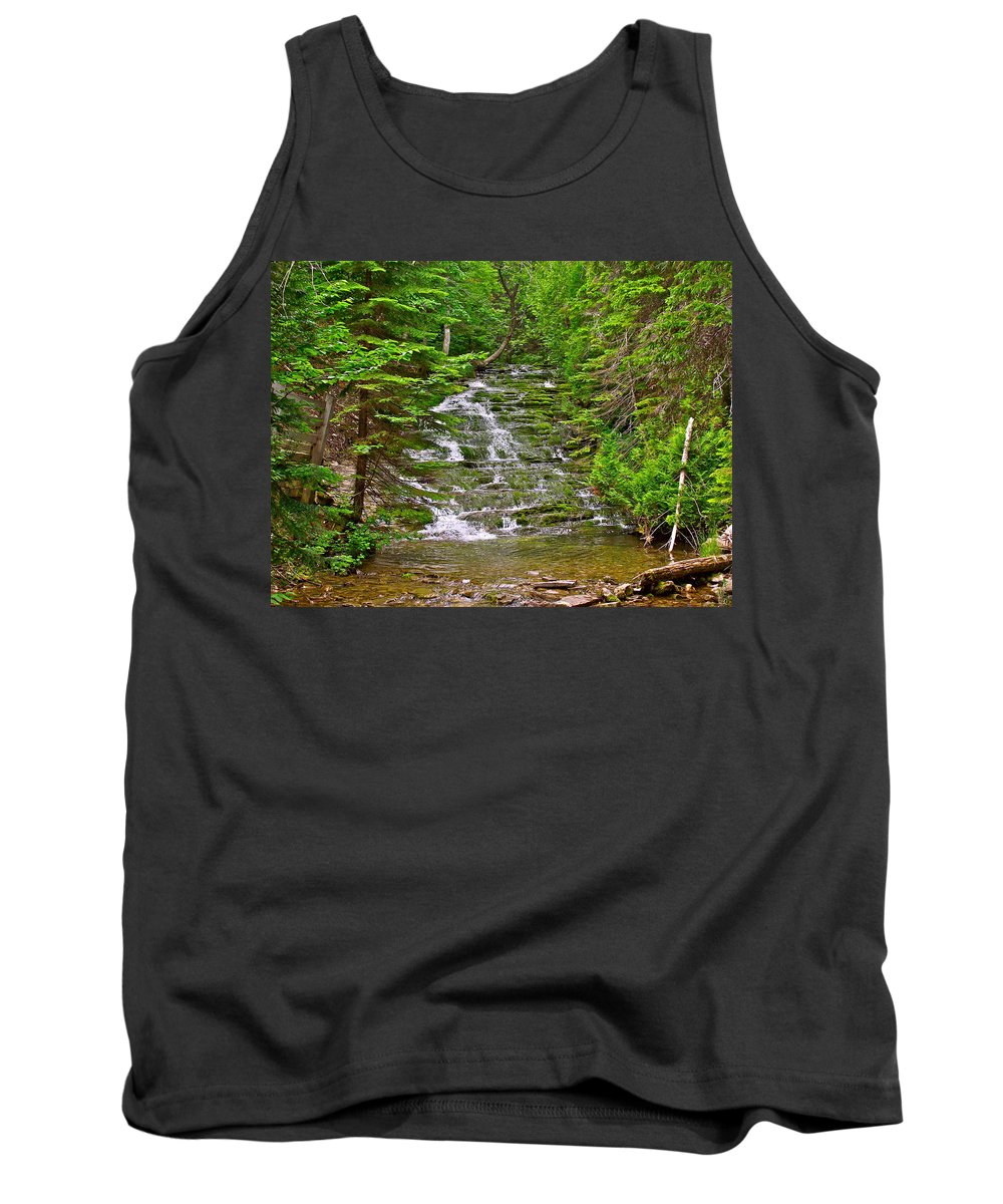 Cascade Over Mossy Rocks Along La Chute Trail In Forillon Np-qc Tank Top featuring the photograph Cascade Over Mossy Rocks Along La Chute Trail In Forillon Np-qc by Ruth Hager