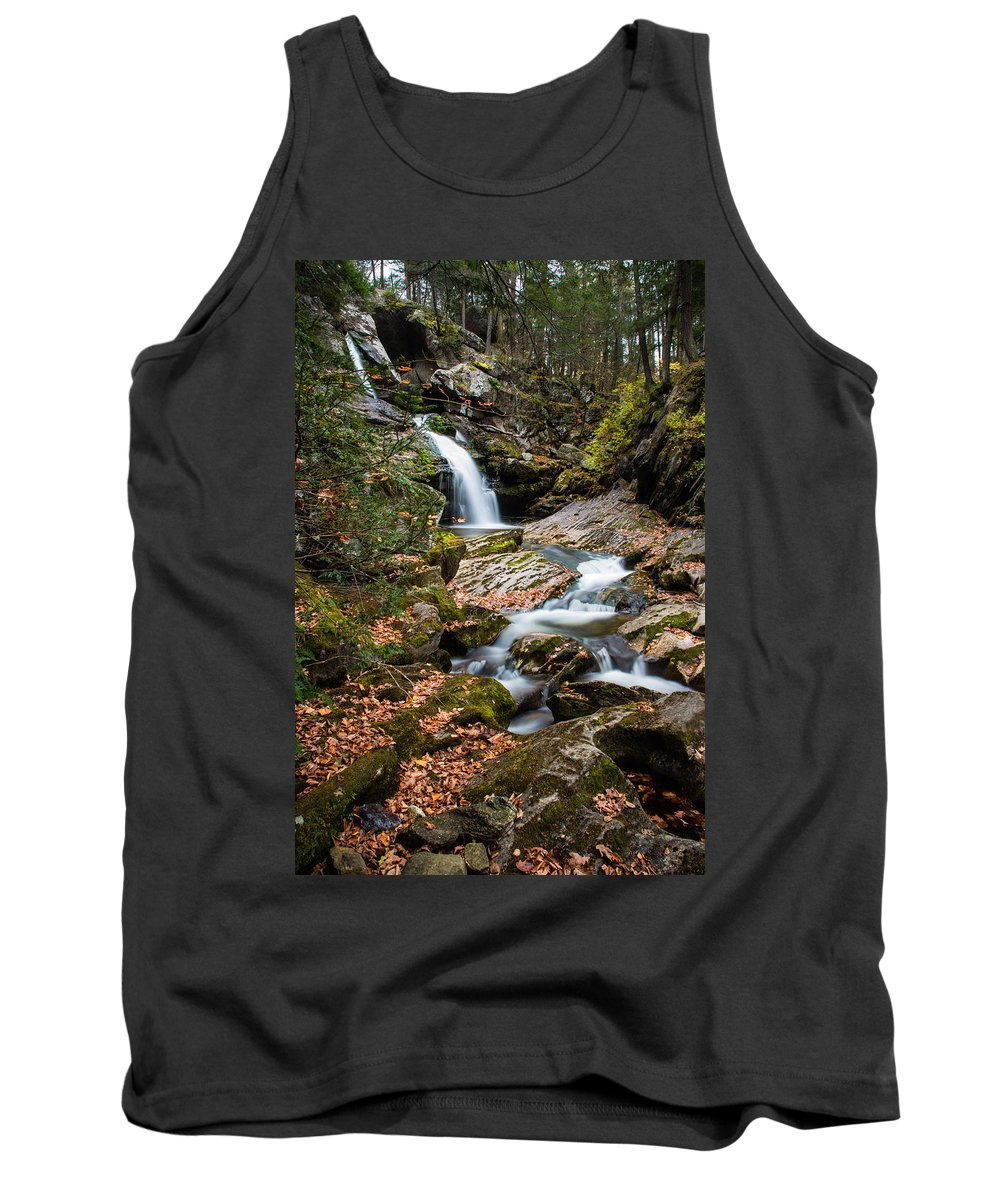 Kent Falls State Park Tank Top featuring the photograph Cascading Falls by Geoffrey Bolte