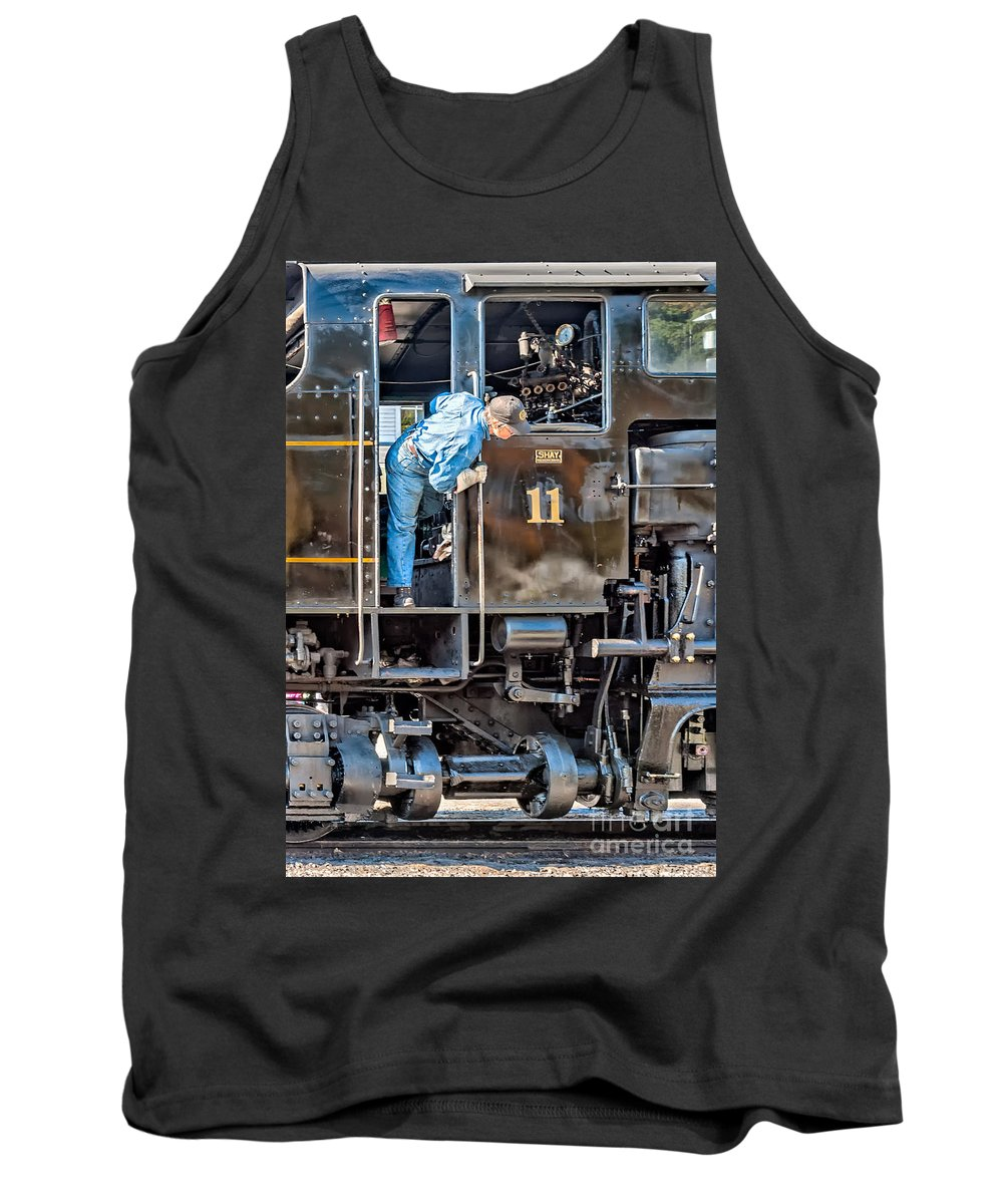 West Virginia Tank Top featuring the photograph Cass Railroad Engineer by Kathleen K Parker