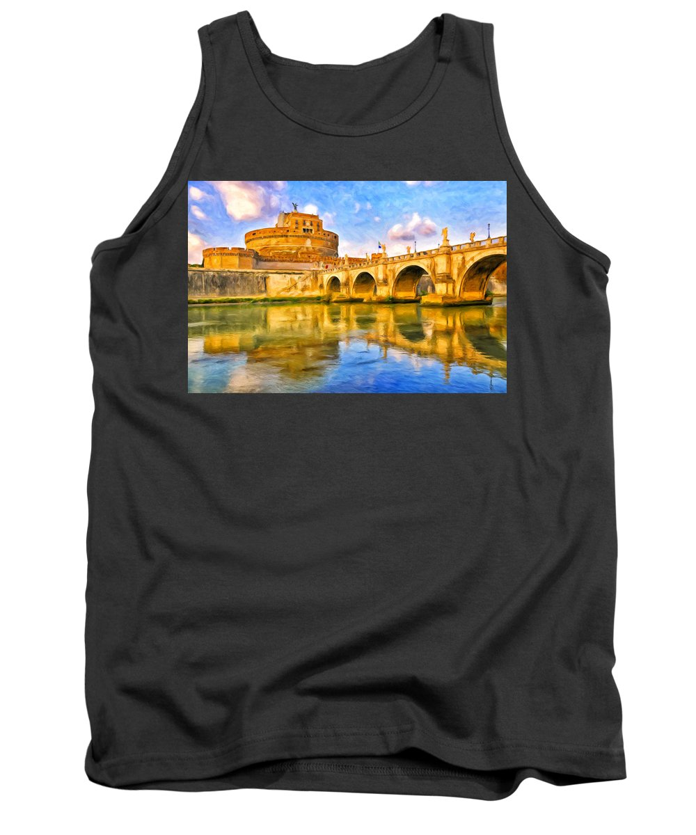 Castel Sant'angelo Tank Top featuring the painting Castel Sant'angelo by Dominic Piperata