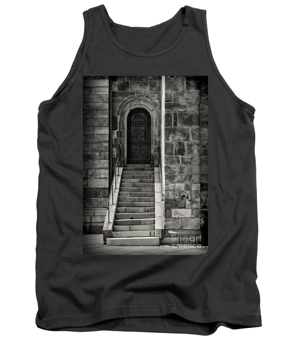 Black And White Tank Top featuring the photograph Cathedral Door And Steps by Sophie McAulay