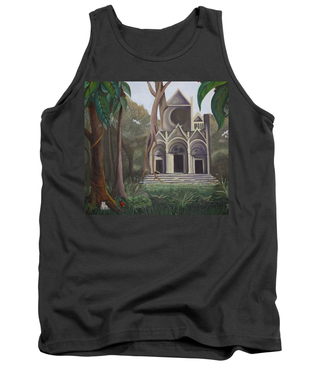 Cathedral Tank Top featuring the painting Cathedral In A Jungle by Erin Nessler