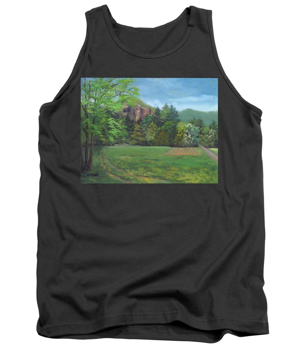 Cathedral Ledge Tank Top featuring the painting Cathedral Ledge from Westside Road by Sharon E Allen