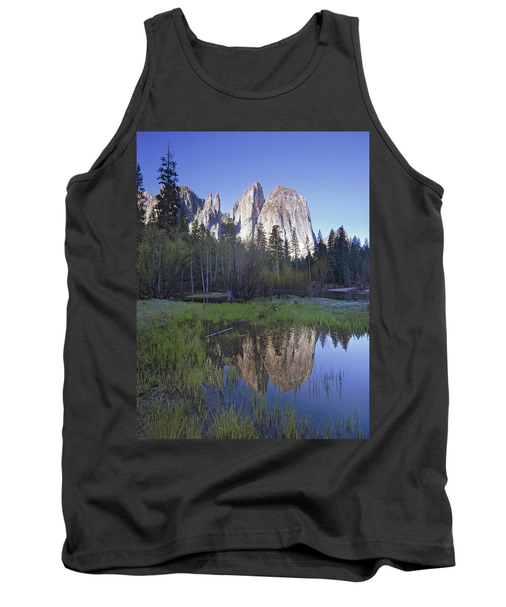 Feb0514 Tank Top featuring the photograph Cathedral Rock And The Merced River by Tim Fitzharris