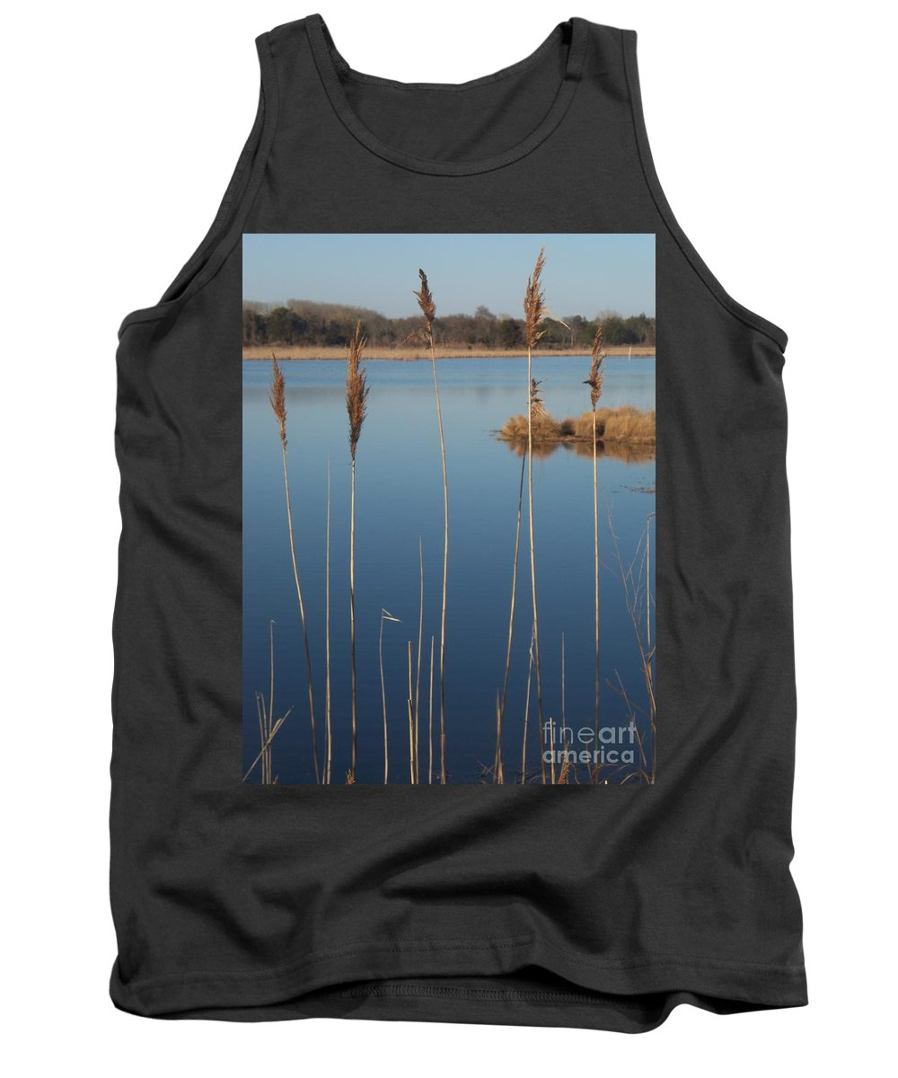 Cattails Tank Top featuring the photograph Cattails Cape May Point Nj by Eric Schiabor