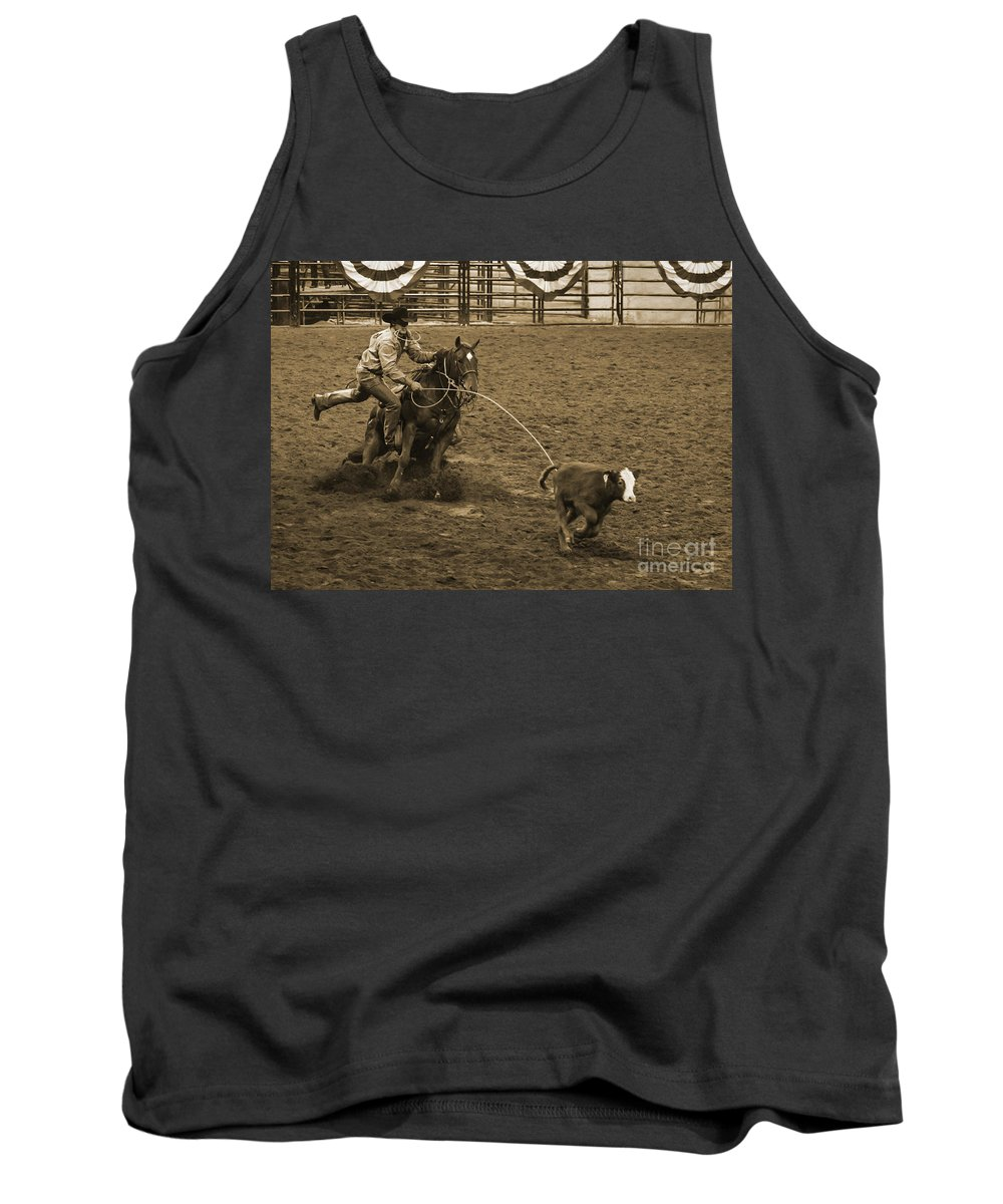 Western Tank Top featuring the photograph Cattle Roping In Colorado by Janice Pariza