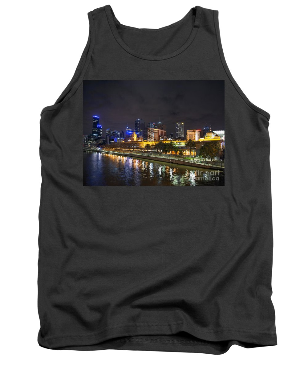 Architecture Tank Top featuring the photograph Central Melbourne Skyline At Night Australia by Jacek Malipan