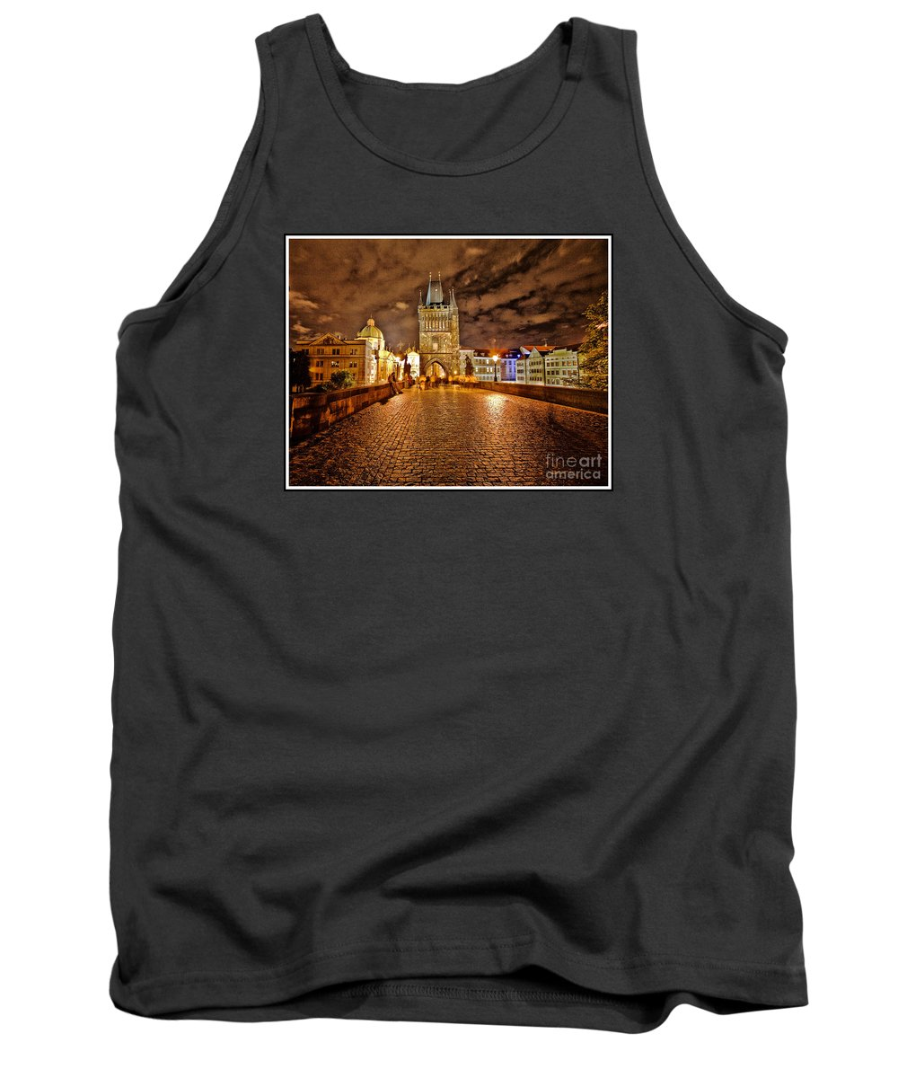 Charles Bridge Tank Top featuring the photograph Charles Bridge At Night by Madeline Ellis