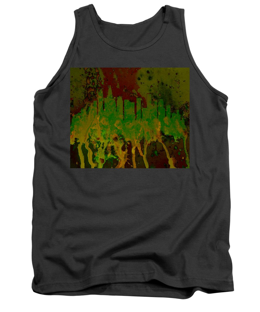 Charlotte Tank Top featuring the digital art Charlotte Nc Skyline by Brian Reaves