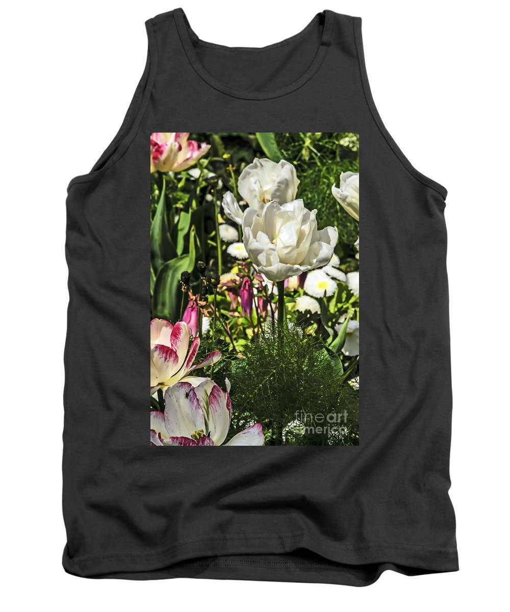 Travel Tank Top featuring the photograph Chartres Garden White by Elvis Vaughn