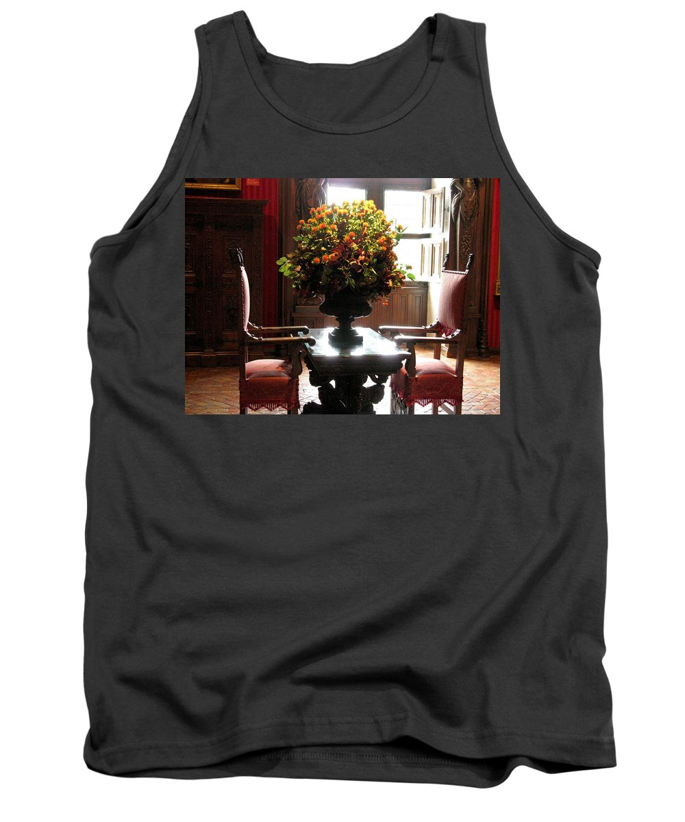 Chateau Chenonceau Tank Top featuring the photograph Chateau De Chenonceau Flowers And Chairs by Randi Kuhne
