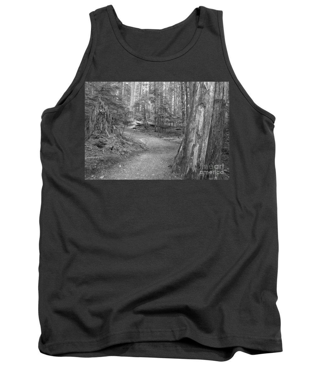 Cheakamus Rainforest Tank Top featuring the photograph Cheakamus Trail In Black And White by Adam Jewell