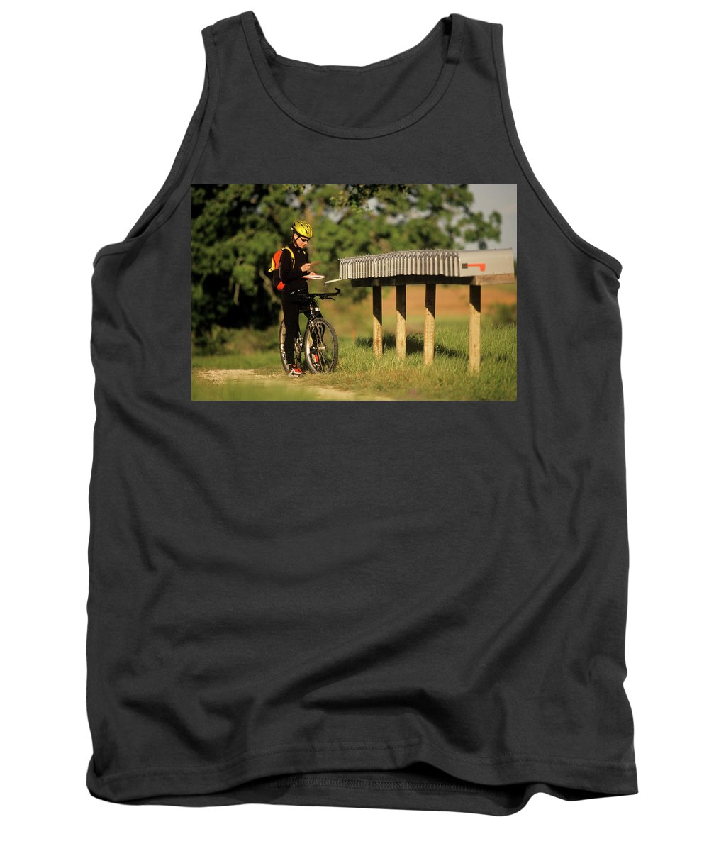 40-44 Years Tank Top featuring the photograph Checking Mail At A Long Row Of Mailboxes by Dave Shafer