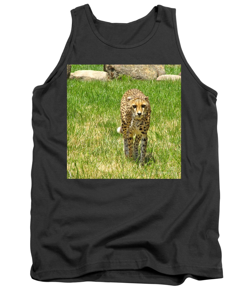 Cml Brown Tank Top featuring the photograph Cheetah Approaching by CML Brown