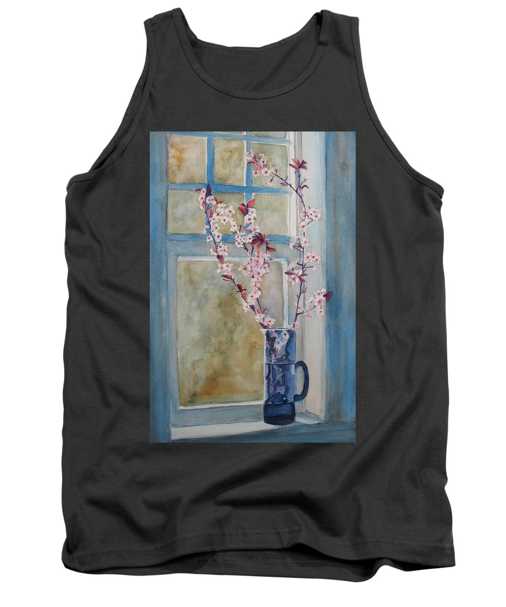 Cherry Blossoms Tank Top featuring the painting Cherry Blossoms In A Blue Pitcher by Jenny Armitage