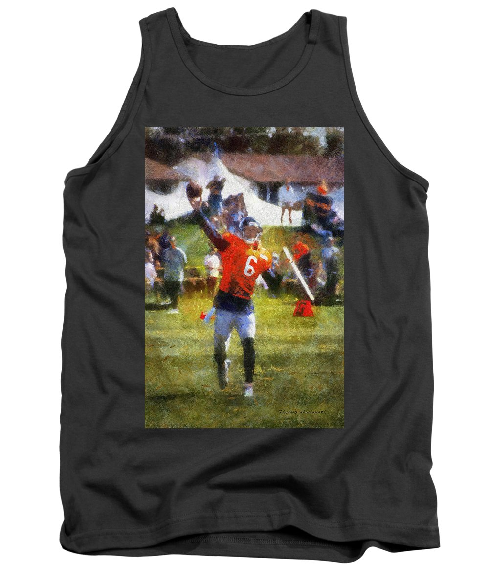 Chicago Bears Tank Top featuring the photograph Chicago Bears Qb Jay Cutler Training Camp 2014 04 Photo Art 02 by Thomas Woolworth