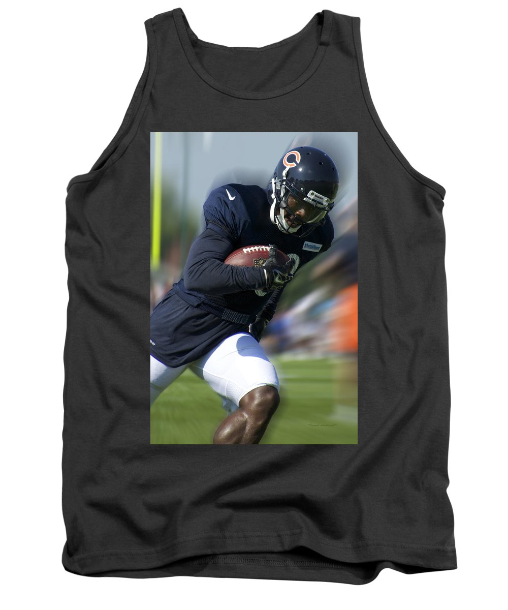 Chicago Bears Tank Top featuring the photograph Chicago Bears Training Camp 2014 Moving The Ball 09 by Thomas Woolworth